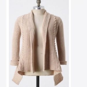 Anthro Canary Label Cable Knit Sweater Cardigan S